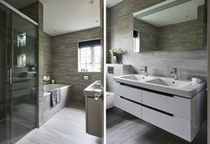 Grey contemporary family bathroom with built in shower enclosure Shower Niche, Shower Enclosure, Contemporary Grey Bathrooms, Tile Covers, Grey Tiles, Elements Of Style, Family Bathroom, Simple Lines, Double Vanity