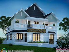 1900 square feet 4 bedroom dream house plan architecture by Dream Form from Kerala. Village House Design, Kerala House Design, House Outside Design, House Front Design, 2 Storey House Design, Bungalow House Design, Best Small House Designs, Model House Plan, House Plans