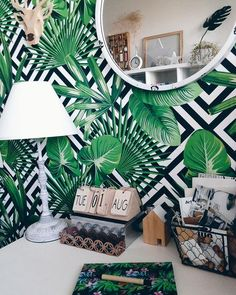 tropical decor home caribbean Interior Tropical, Tropical Decor, Tropical Bedrooms, Tropical Houses, Office Mural, Office Decor, Garden Mural, Living Room Orange, Tropical Architecture