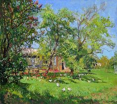 Spring Day rural landscape - oil painting