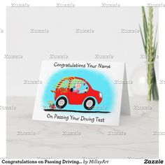 Passed Driving Test, Card Tattoo, Test Card, Plant Design, Custom Greeting Cards, Zazzle Invitations, Thoughtful Gifts, Paper Texture, Smudging
