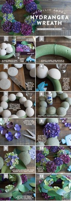 14. Paper #Hydrangea Wreath - So Many #Pretties! Let's All Make These Paper #Flowers Right Now ... → DIY #Paper