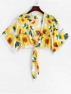 8625b7bbf62ba Sunflower Print Tie Front Crop Blouse
