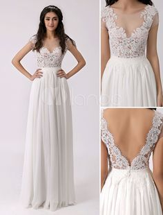 Deep V Back Beach Wedding Dress with Sheer Lace Bodice - Milanoo.com  ---> http://goo.gl/0lqCCG