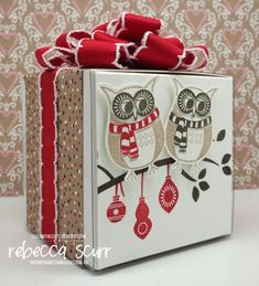 CTC95 - White Gift boxes, Owl punch, Cozy Critters - Caseing the Catty Design Team Member - Rebecca Scurr - Independent Stampin' Up! demonstrator - www.facebook.com/thepaperandstampaddict
