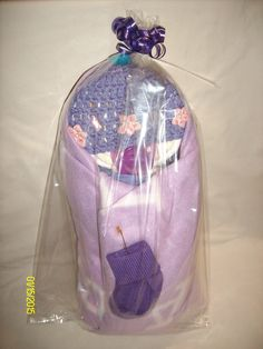 Girls Swaddled Lav & Coral Birdy Baby Pajama Diaper Cake w/Violet Blanket LBB06