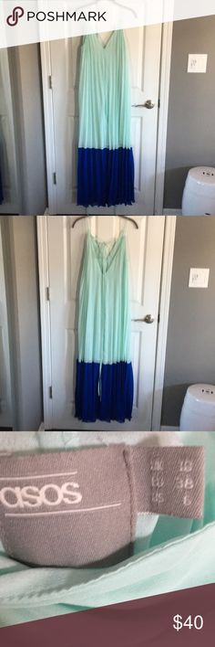 ASOS maxi dress Mint and royal blue, pleated, flowy. Has ties in back you can use to tie dress many ways. ASOS Dresses Maxi
