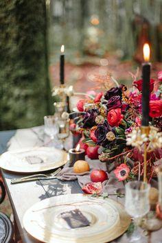 Moody Burgundy And Gold Wedding Inspiration Moody Fall Wedding Tablescape Fall Wedding Centerpieces, Floral Centerpieces, Wedding Decorations, Decor Wedding, Wedding Ideas, Wedding Themes, Wedding Cakes, Centerpiece Ideas, Autumn Wedding