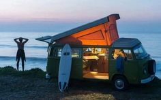 A room with a view.... spending the night in a vintage @VW Bus on the shore