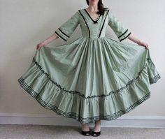 Little house on the prairie dress civil war mint green frontier gown