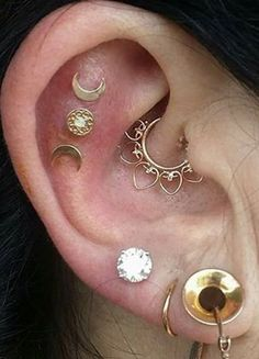 Cool Unique Ear Piercing Ideas at MyBodiArt.com - Rook Daith Hoop Ring Constellation Cartilage Moon Stars Studs Lobe