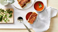 Chipotle roasted tomato soup with grilled cheese fingers recipe | SBS Food