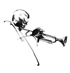 Miles Davis - black & white ink illustration by Eri Griffin http://www.erigriffin.com