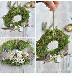 Moss wreaths for Easter - decoration with feathers & bulbs . Spring Door Wreaths, Easter Wreaths, Christmas Wreaths, Feather Crafts, Flower Crafts, Decor Crafts, Diy And Crafts, Easter Flower Arrangements, Moss Wreath