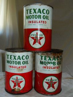 Lot of 3 Texaco Motor Oil Cans Old 1930s Vintage Set Classic Car Garage Decor | eBay