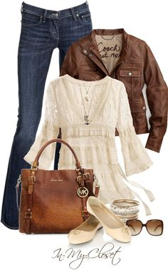 """Michael Kors Bedford Ostrich Tote"" by in-my-closet on Polyvore - I wonder how all of these outfits I'm pinning would look on women with curves and shorter torsos and legs. We're not all 5'8"" and skinny so are we just dreaming? lol!"