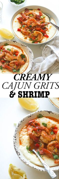 Cajun Shrimp and Grits – Immaculate Bites Cajun Shrimp and Grits- Creamy Grits with Cajun Shrimp , a Southern Classic Elevated! With Bold and Spicy Seasonings . Creole Recipes, Cajun Recipes, Fish Recipes, Seafood Recipes, Dinner Recipes, Cooking Recipes, Cajun Food, Recipies, Seafood Meals