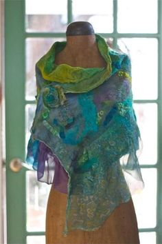 'PatchWork' Nuno Felt Shawl - via by dalis Valentine Crafts For Kids, Crafts For Teens To Make, Create And Craft, Wet Felting Projects, Felting Tutorials, Felt Projects, Nuno Felting, Needle Felting, Wool Felting