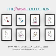 Disney Princess Minimalist Art Print Set in 8x10 on Metallic Paper - home decor, girl's room, Snow White, Cinderella, Ariel & more. $93.00, via Etsy.