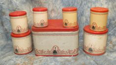 Tin Bread Box Matching Canisters Lady Red Roses by TheOldGrainery