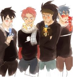 A little mermaid for Gray, an angel for Natsu, a fairy for Gajeel, and demon for Jellal <3 [by yuuba.tumblr.com]