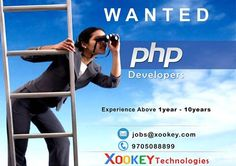 Immediate opening for PHP Developer : Xookey Technologies  PHP Developers Job Vancancies in Hyderabad Location.   Looking for a confident and experienced PHP Web Developer to work across a number of web applications and complete website overall.  Junior PHP Developers : (1-3) Years   Senior PHP Developers : (3-10) Years    Job Type: Full-time   Send Resume to jobs@xookey.com   More info Please Contact : 9705088899  Website : http://www.xookey.com/index.php/career/apply/1