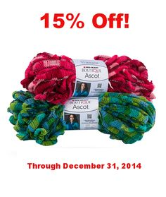 Boutique Ascot is 15% off through December 31, 2014!  It's perfect for scarves and garlands. Click on the photo to buy now.