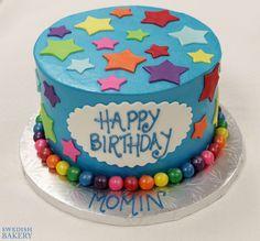 Colorful Stars & Gumball Border | Single tier, buttercream children's celebration cake with fondant stars and gumball border.