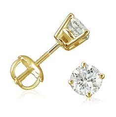White Gold Round Screw-Back Diamond Stud Earrings tw). tw diamond stud earrings set in White Gold basket settings with screw-backs. Total Weight White Gold Screw-Back Settings Color/Clarity: K/L- Diamond Solitaire Earrings, Diamond Studs, Diamond Jewelry, Gold Jewelry, Jewelry Sets, Earring Box, Ear Studs, Women's Earrings, Simple Earrings