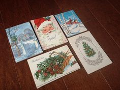 Vintage Christmas Cards  Set of 5 S1 by 2Renew on Etsy
