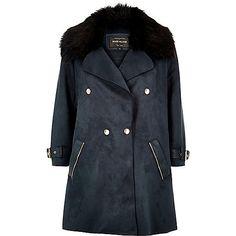 Navy faux fur trim double-breasted coat - coats - coats / jackets - women