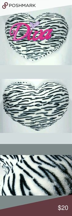 """Faux Fur Zebra Print Diva Heart Pillow Furry Large Faux Fur Zebra Print Diva Heart Pillow Furry Large 22""""X17.5"""" Fluffy Throw Plush Very good condition! Great gift for that Diva in your life! Other"""