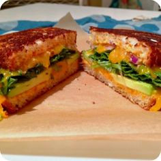 Gluten Free grilled cheese with avocado and siracha