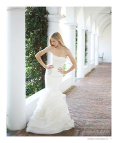 From the Spring 2013 issue of Weddings Unveiled Magazine. Dress by Vera Wang, earrings by Elizabeth Cole. Photographed on location at the Jekyll Island Club Hotel. www.weddingsunveiledmagazine.com