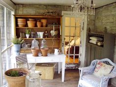 Shabby-Chic Gardening Porch http://www.hgtv.com/decks-patios-porches-and-pools/shabby-chic-decorating-ideas-for-porches-and-gardens/pictures/page-3.html?soc=pinterest