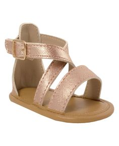 """Baby Deer """"Andrea"""" sandal shimmers above the crowd with delicate rose gold color and strap detailing. The Andrea is a perfect sandal for wiggling feet. Baby Girl Sandals, Toddler Sandals, Kids Sandals, Baby Girl Shoes, Kid Shoes, Girls Shoes, Girls Summer Outfits, Toddler Girl Outfits, Jeep Clothing"""