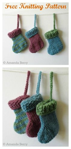 Mini Christmas Stocking Free Knitting Pattern - Knitting - Mini Christmas Stocking Free Knitting Pattern A number of free mini Christmas Stocking knitting patterns. These are cute Christmas tree decorations, and a good way to use up scraps of yarn. Knitted Christmas Stocking Patterns, Knitted Christmas Decorations, Knit Christmas Ornaments, Mini Christmas Stockings, Mini Stockings, Noel Christmas, Crochet Christmas, Knitting Patterns Free, Free Knitting
