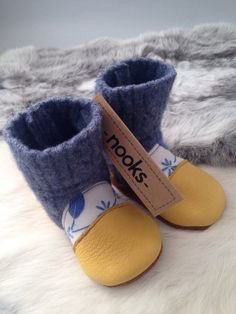 Felted wool baby booties tapestry tops toddler by NooksFootwear