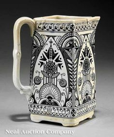English Arts and Crafts Old Hall Pottery Co. Earthenware Pitcher, c. 1886…