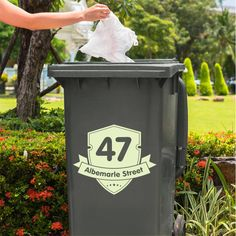 Set of 2 Personalised Wheelie Bin Vinyl Stickers - House Number Sticker - Address Decal Design Projects, Craft Projects, Waste Art, Garbage Can, New Home Designs, Recycling Bins, Creative Business, Wall Stickers, Personalized Gifts
