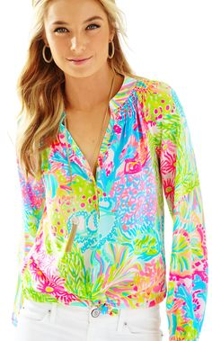 ELSA TOP - MULTI LOVERS CORAL BY LILLY PULITZER