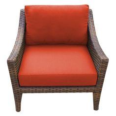 TK Classics Manhattan Wicker Outdoor Club Chair - Set of 2 Cushion Covers Tangerine - TKC035B-CC-TANGERINE
