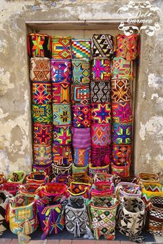 "This are the lovely ""Mochilas Wayúu"" nice bags made by the natives wayúu, in Cartagena Colombia 