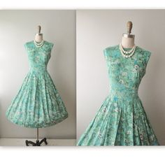 50's Floral Dress // Vintage 1950's Impressionist Floral Print Garden Party Summer Mad Men Dress L on Etsy, $54.46 AUD