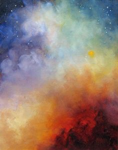 Celestial Fire Night Skyscape Original Art by MarinaPetroFineArt