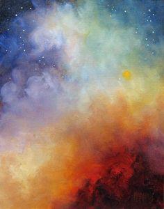 Celestial Fire Night Skyscape Original Art by MarinaPetroFineArt