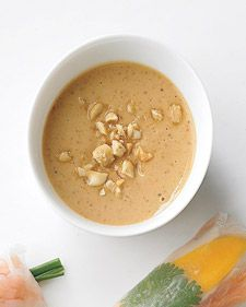 A nutty sauce great for dipping Asian spring or summer rolls. - really easy and yummy!! would be really good for a quick peanutty pasta dish too.