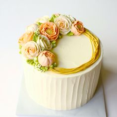 Floral Tulips Buttercream Cakes | Buttercream Floral Straw Cake — Eat Cake Be Merry - Custom Cakes NY ...