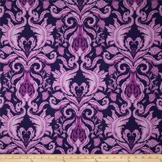 The Garden of Earthly Delights Damask Purple from @fabricdotcom  Designed by Studio KM for Free Spirit, this fabric is perfect for quilting, apparel and home decor accents. Colors include royal purple, lilac, and lavender.