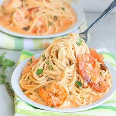 Creamy, Herb, buttery, spicy Shrimp and Spaghetti Dinner- Ready in 30 minutes.